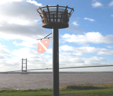 Beacon Picture against backdrop of Humber Bridge